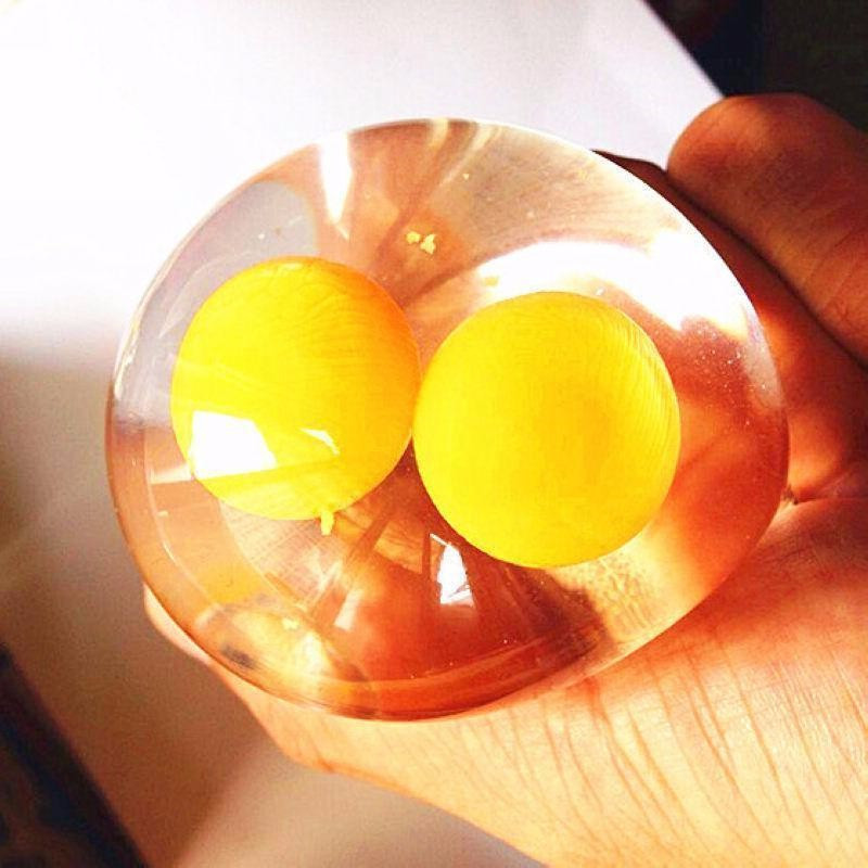 Tricky Halloween Party Funny Unbreakable Double Yellow Egg Vent Water Polo Reduce Stress Toys