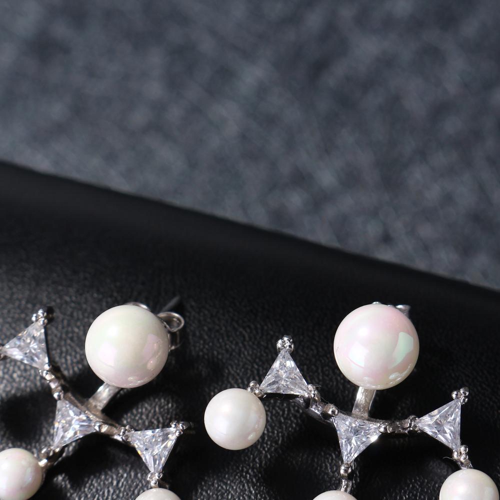 Luxury 925 Sterling Silver Dazzling Zirconia Pearl Earrings
