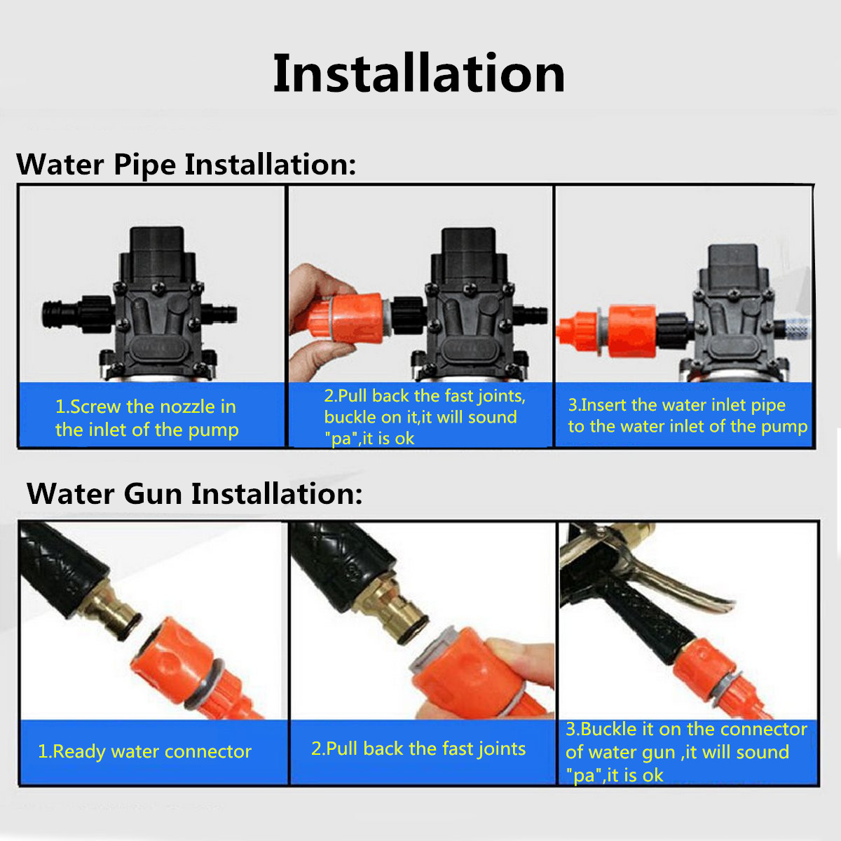 12V 36W Electric High Pressure Self Priming Auto Wash Water Pump Car Washer Set
