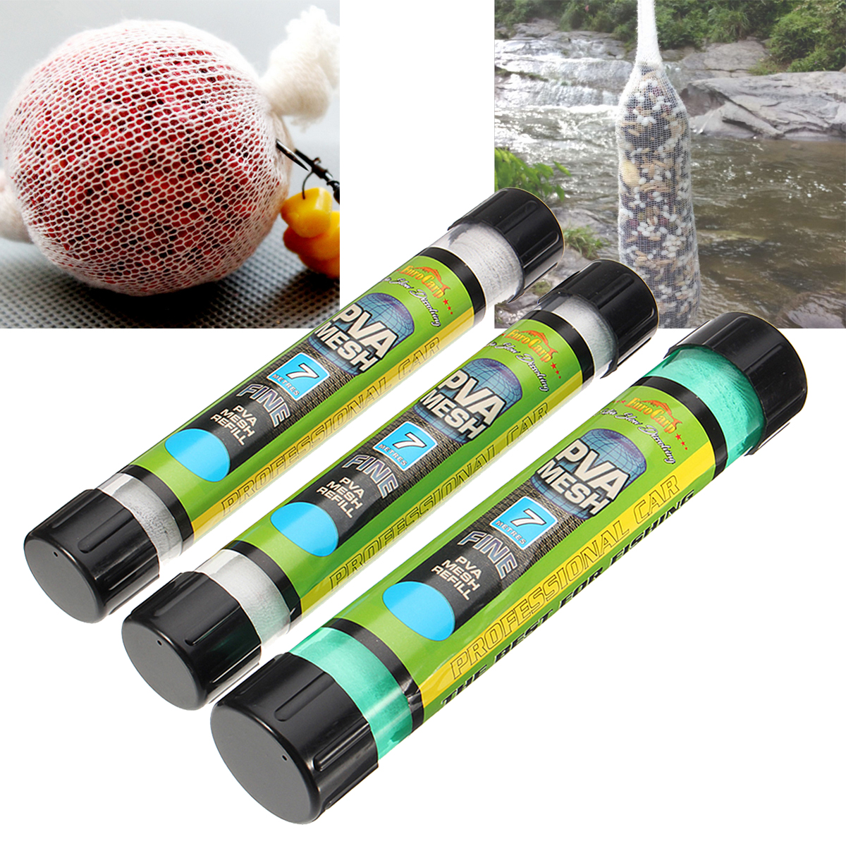 15/25/37mm Width PVA Wide Wire Mesh Coarse Fishing Baits Bag Stocking Plunger Stick Tube 7m Length