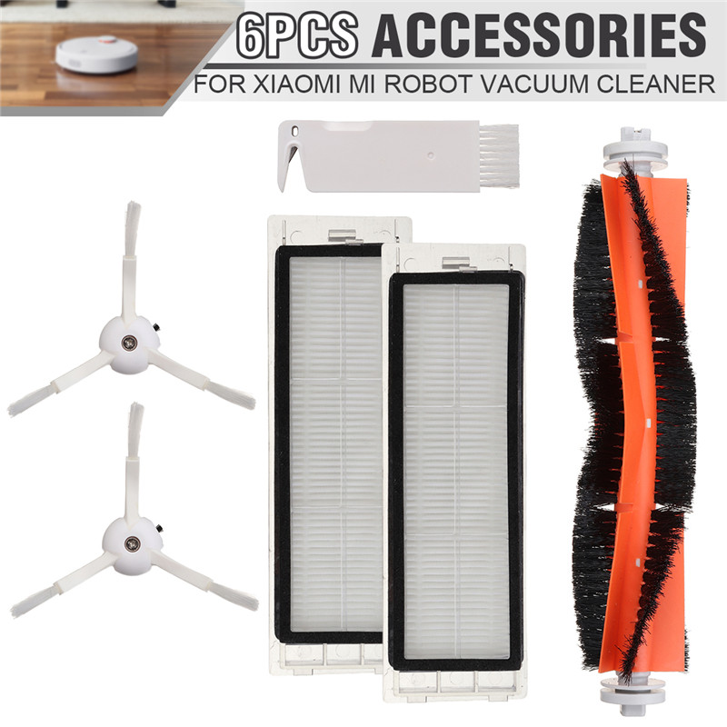 6pcs Main Brush HEPA Filter Side Brushes Replacements for XIAOMI Mi Robot Vacuum Cleaner