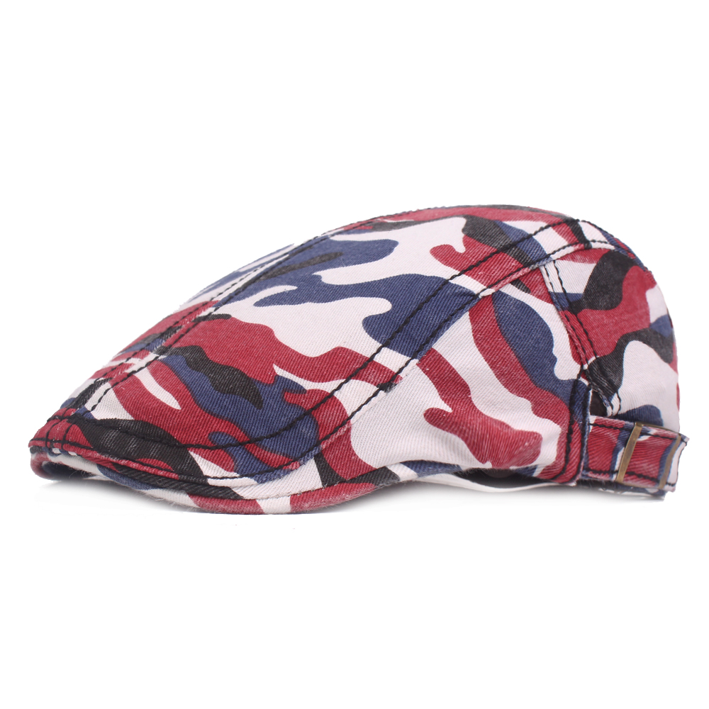 Men Washed Cotton Camouflage Beret Caps Newsboy Hunting Hat