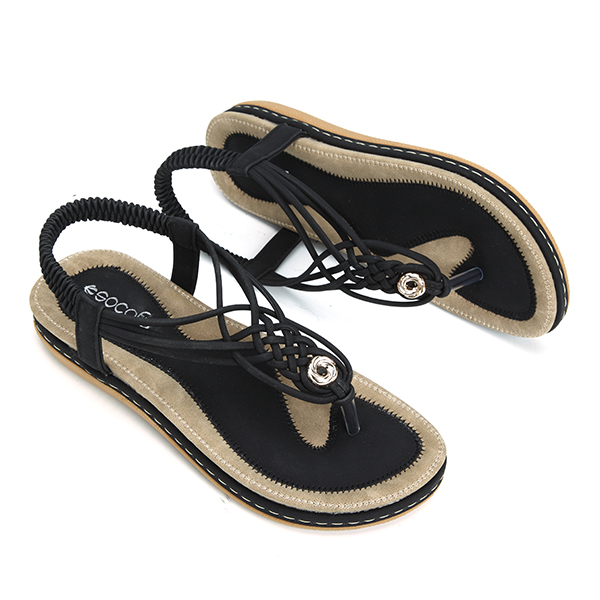 d9fd0ed6a socofy women knitted casual beach sandals at Banggood