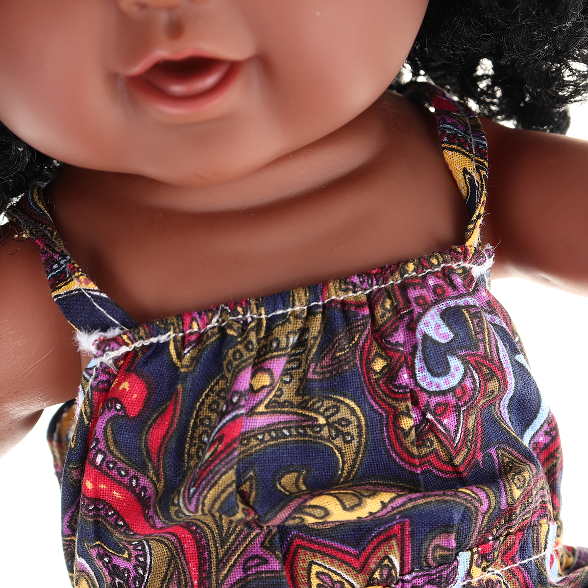 12Inch Soft Silicone Vinyl PVC Black Baby Fashion Play Doll Rotate 360° African Girl Perfect Reborn Doll Toy for Birthday Gift - Photo: 8