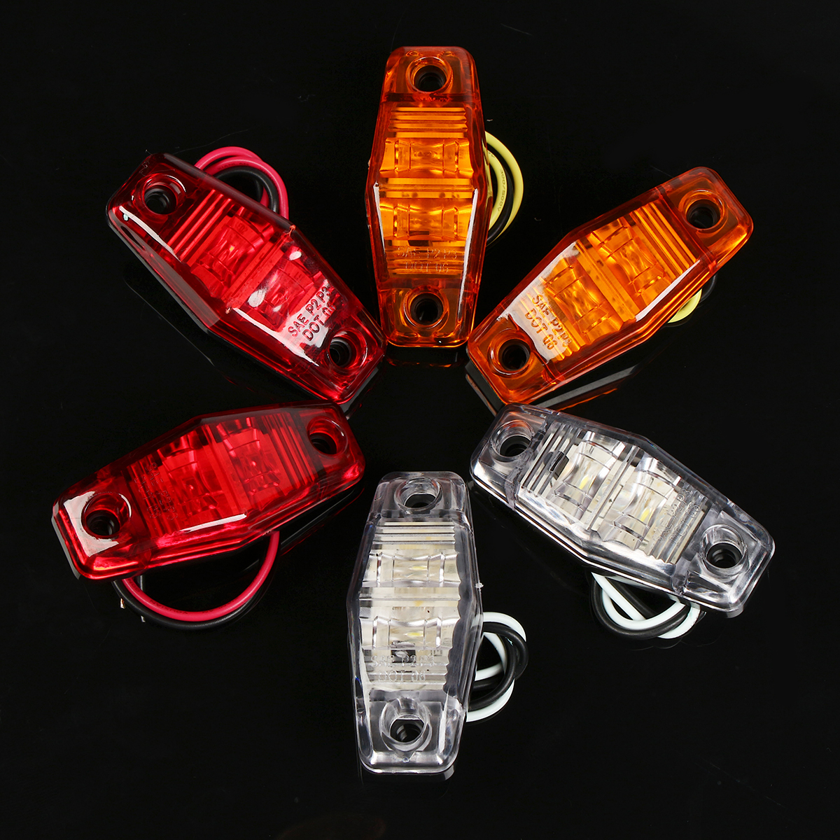 LED Side Marker Lights Indicator Lamps 10-30V Amber/Red/White 1PCS for Car Truck Trailer