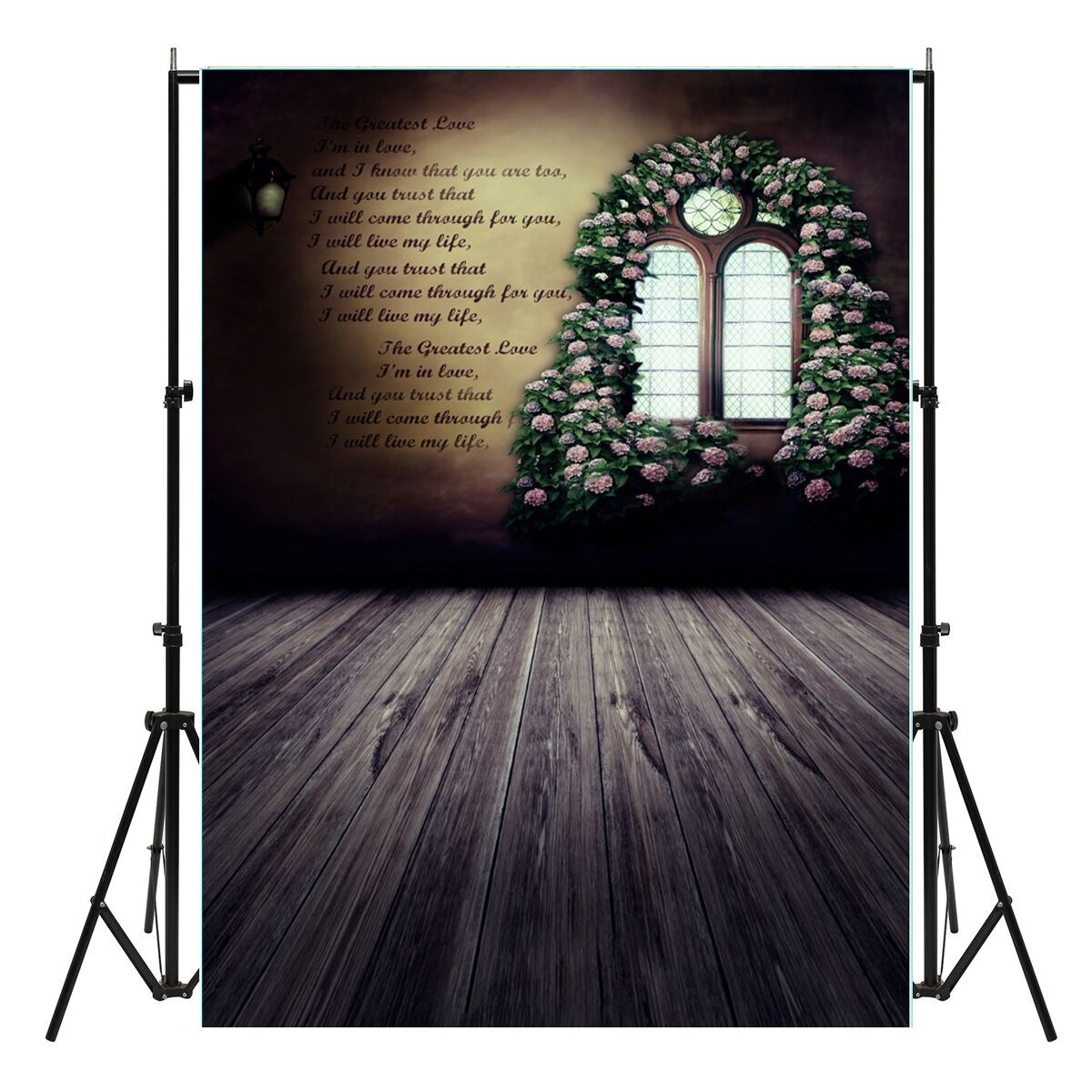 5x7ft Vinyl Valentine's Day Rose Wood Floor Window Phot