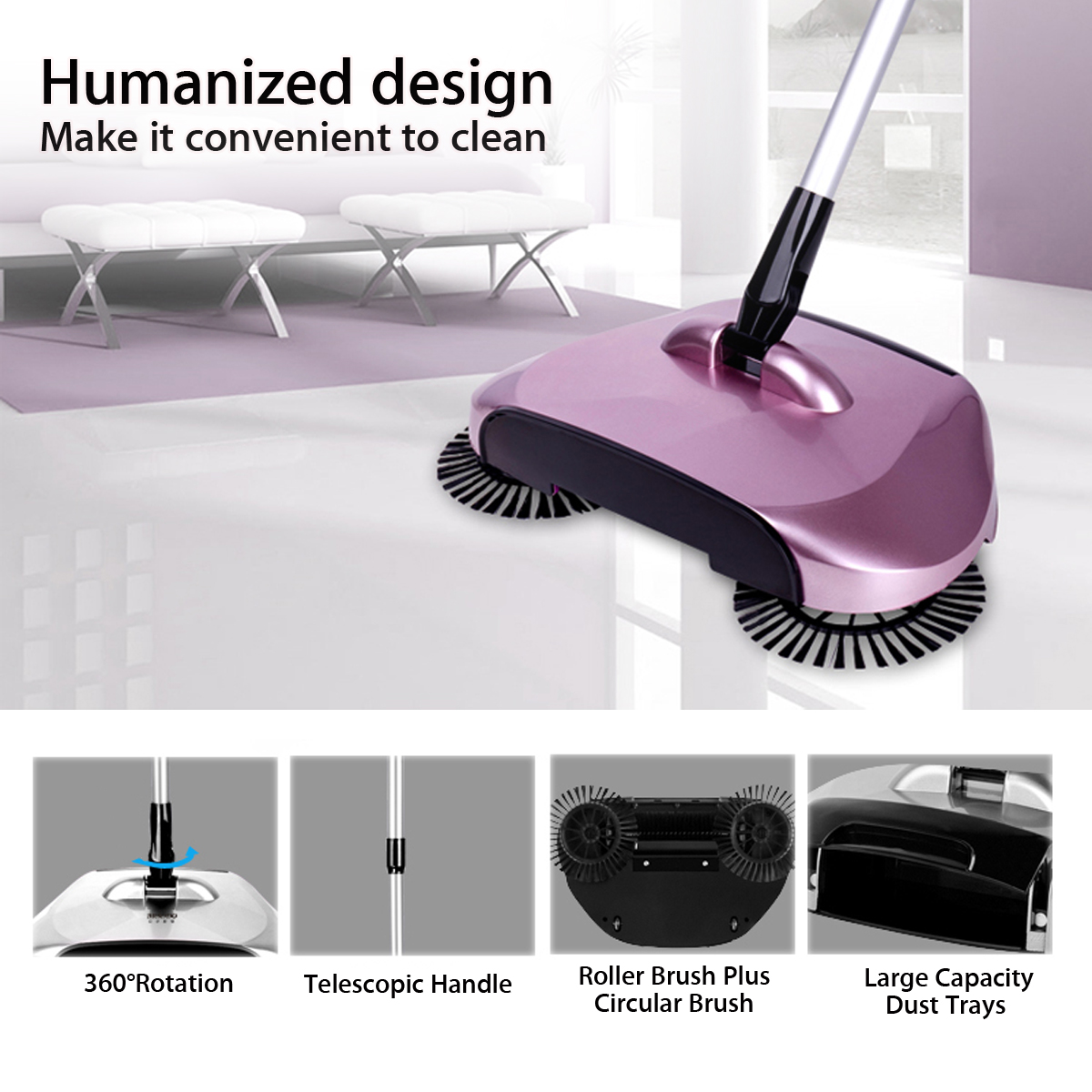 Lazy Automatic Hand Push Sweeper Broom Household Cleaning Without Electricity