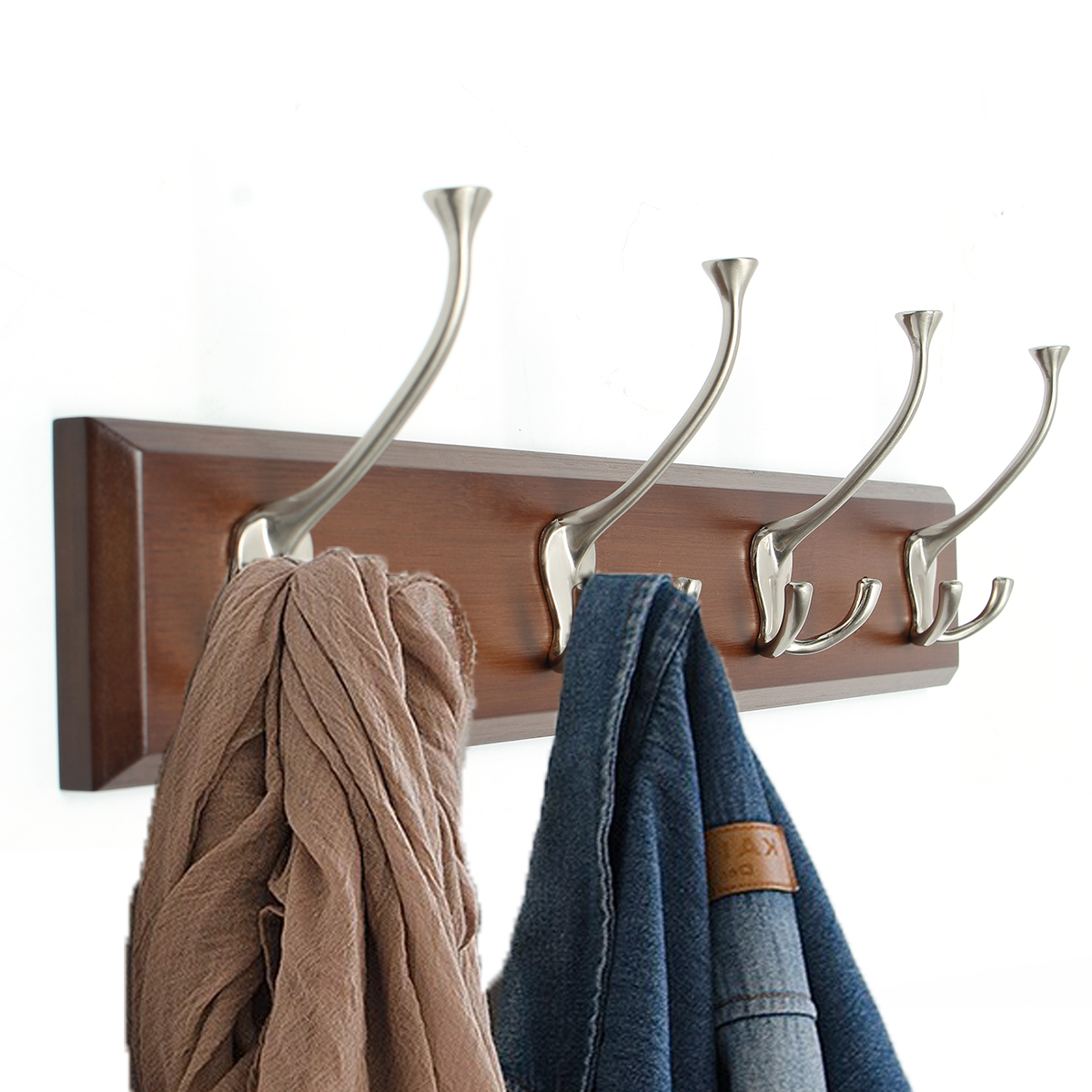 4 Hooks Vintage Bamboo Coat Rack Hanging Hook Towel Hanger Clothes Holder Wall Mounted