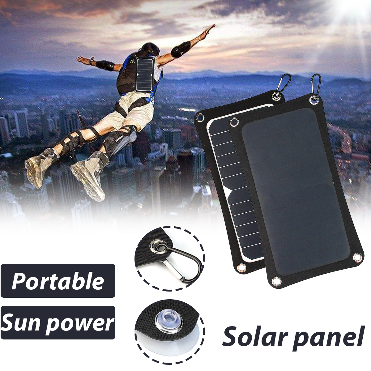 8.6W Portable Outdoor Solar Power Panel Charger For Samsung IPhone Tablet Pad