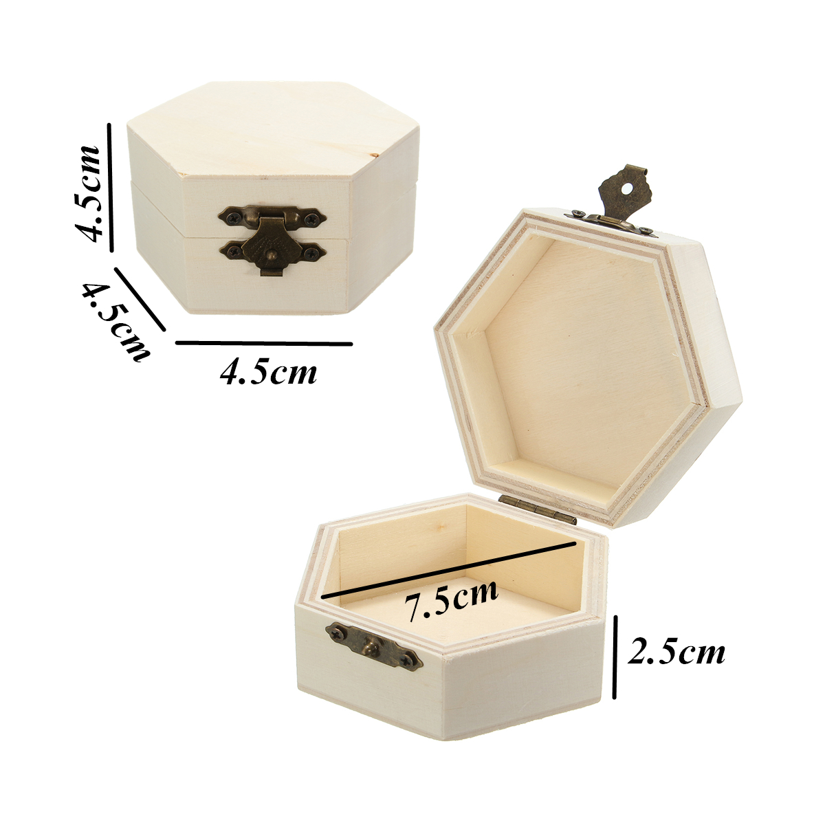 Hex Wooden Box Organizer Storage Craft Case for Handicraft Jewelry Home