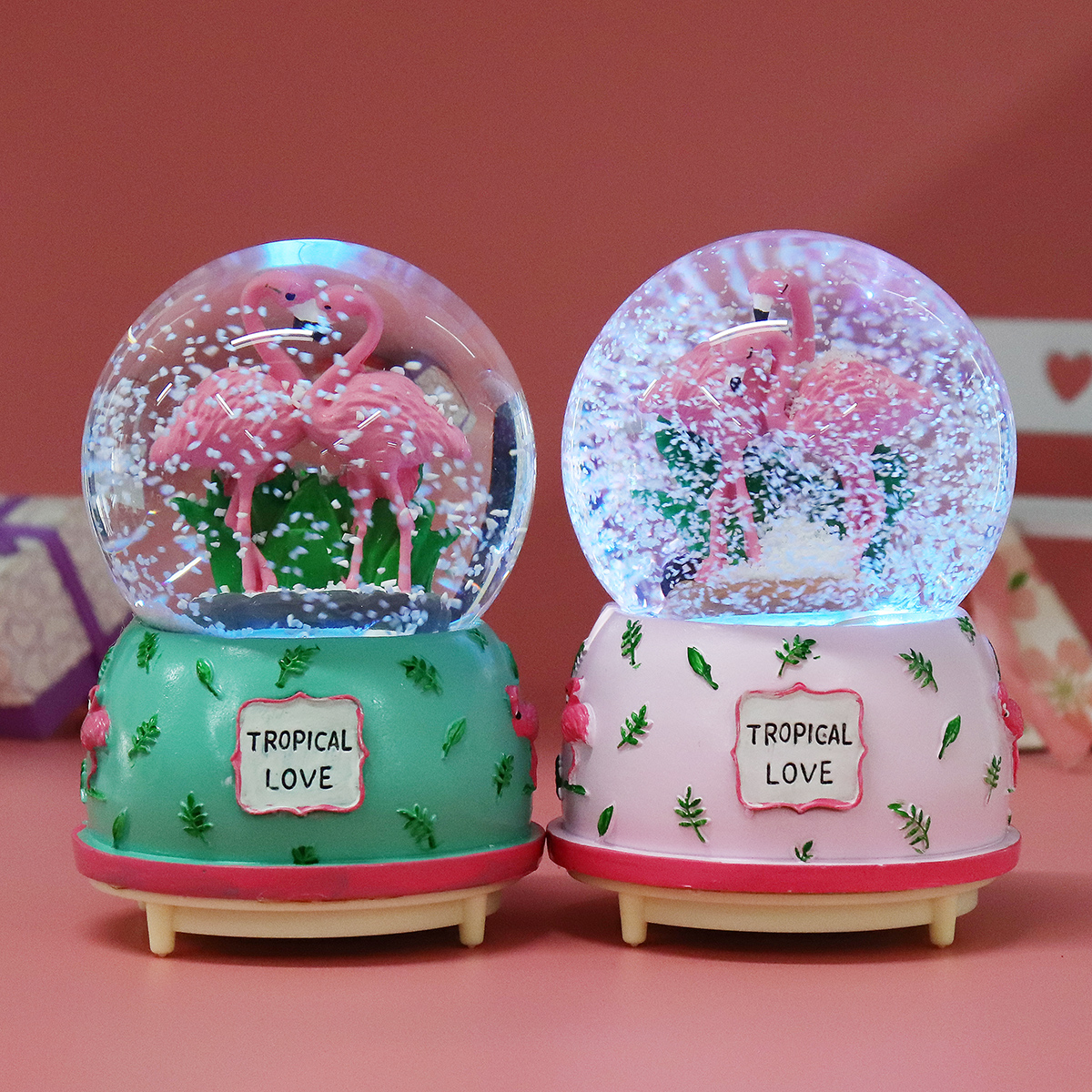 Creative Crystal Flamingo Musical Snow Globe Music Box Valentine's Birthday Gift