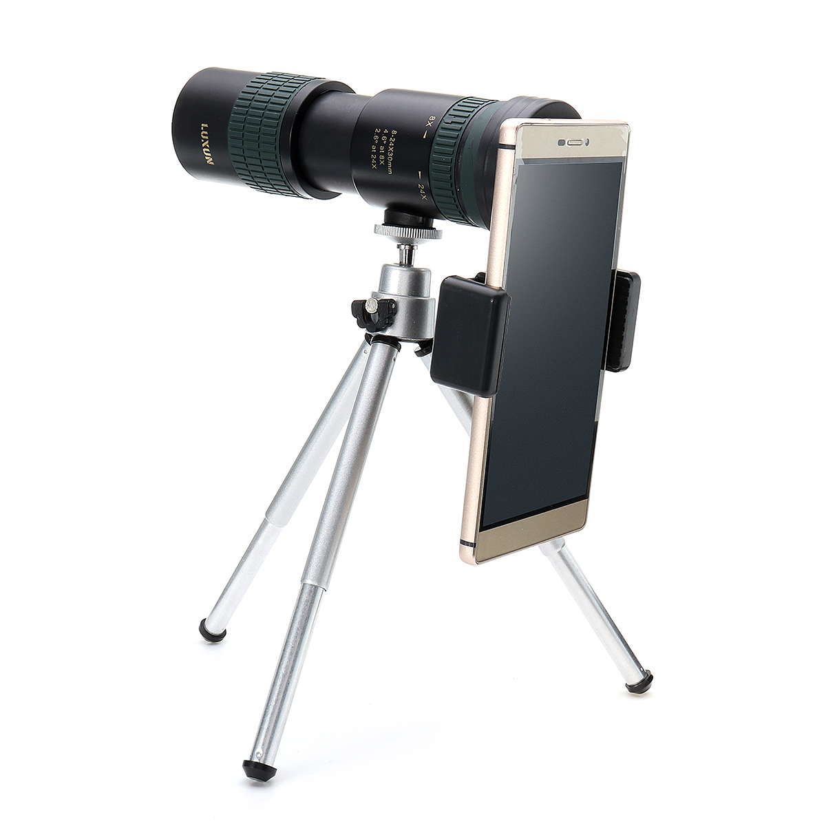 Bakeey Universal 8-24X Zoom Monocular Telescope Camera Lens+Phone Clip+Tripod for Smartphones