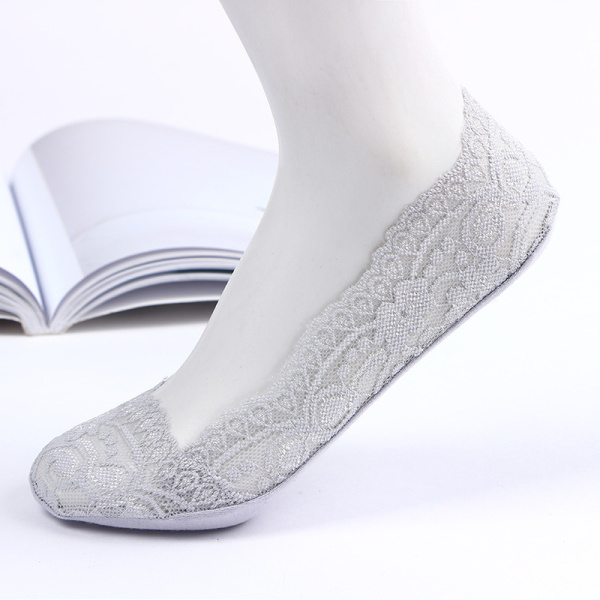 Women Breathable Lace Antiskid Silicone Invisible Boat Socks Low Cut Shallow Socks