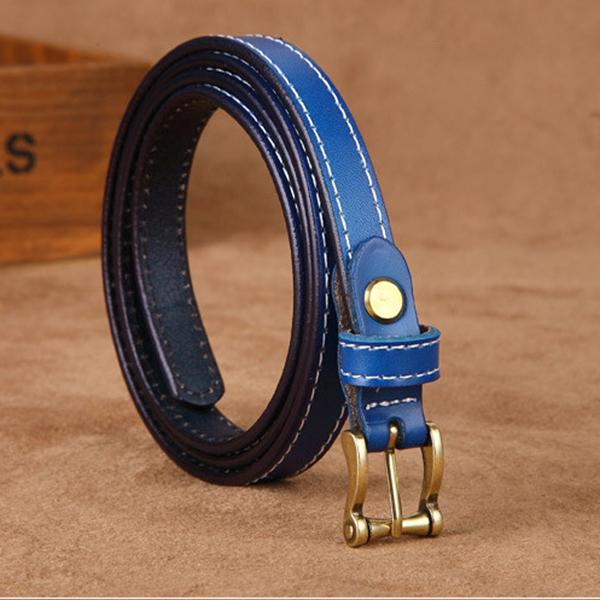 Image of 105CM Frauen zweite Schicht Leder Gürtel Freizeit Pin Wölbung Solid Nähen Edge Bund für Jeans Cowboy