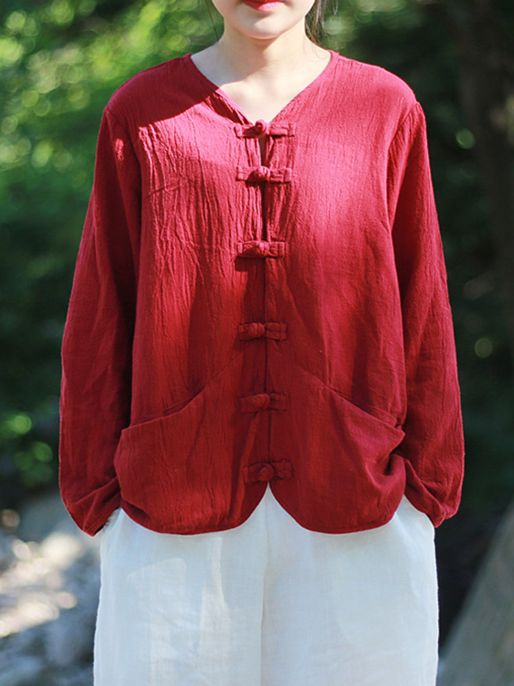 Vintage Plate Buckle Chinese Style Linen Cotton Blouse