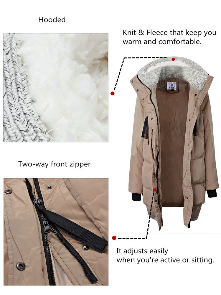 Plus Size Casual Winter Outwear Zipper Knit Patchwork Hood Down Coat
