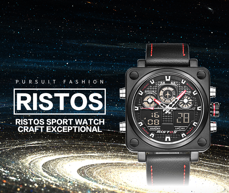 Ristos 9343 Fashionable Watch Chronograph Dual Display Leather Band Digital Watch