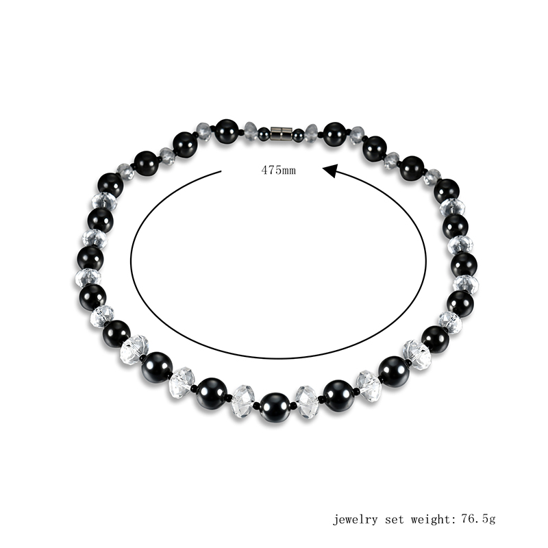 Fashion Black High Polished Men Beaded Necklace Magnet Stone Crystal Healing Jewelry
