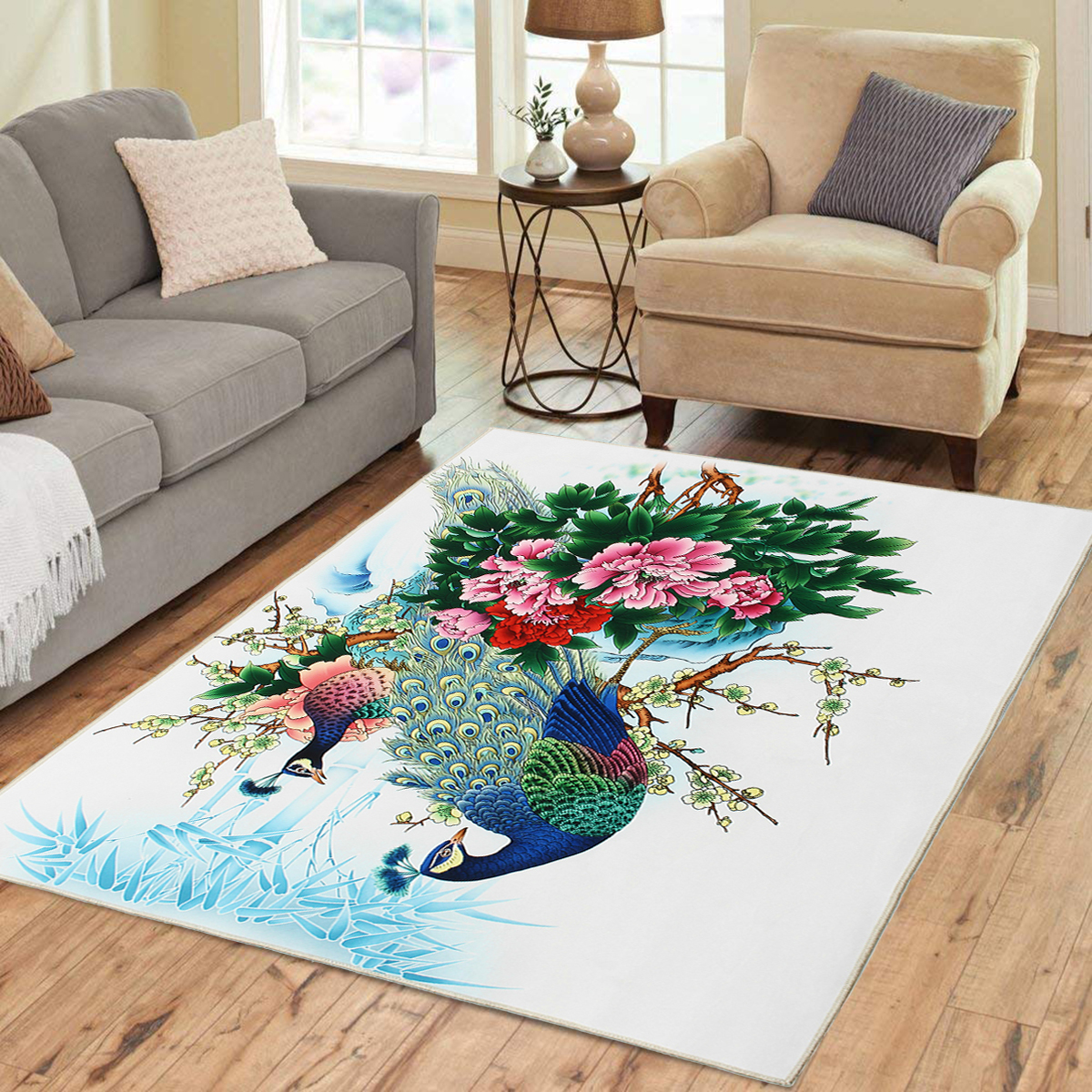 Peacock Flower Area Floor Rug Carpet For Bedroom Living Room Home Mat Decoration