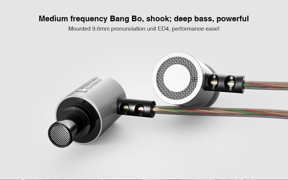 KZ ED4 HiFi Metal 9.6mm Ecological Unit Noise Isolating Heavy Bass In-ear Headphone with Mic