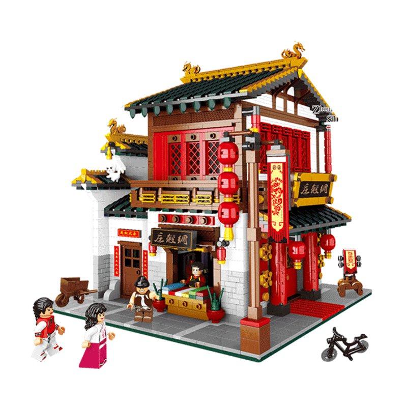 Chinese Style The Chinese Silk and Satin Store Set Building Blocks Bricks DIY Toys Model 2787Pcs