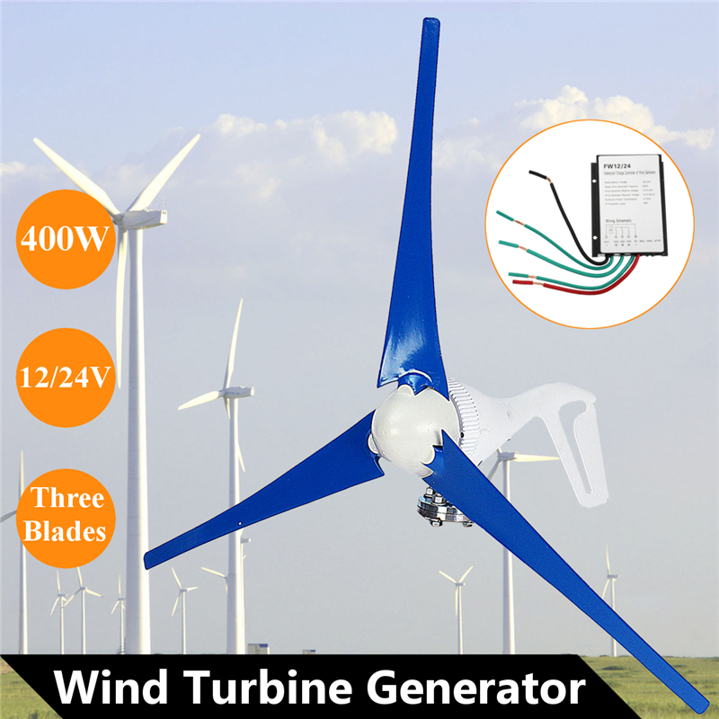 DC 12 to 24V 400W Wind Generator 3 Blades Turbine Home Power with Charge Controller