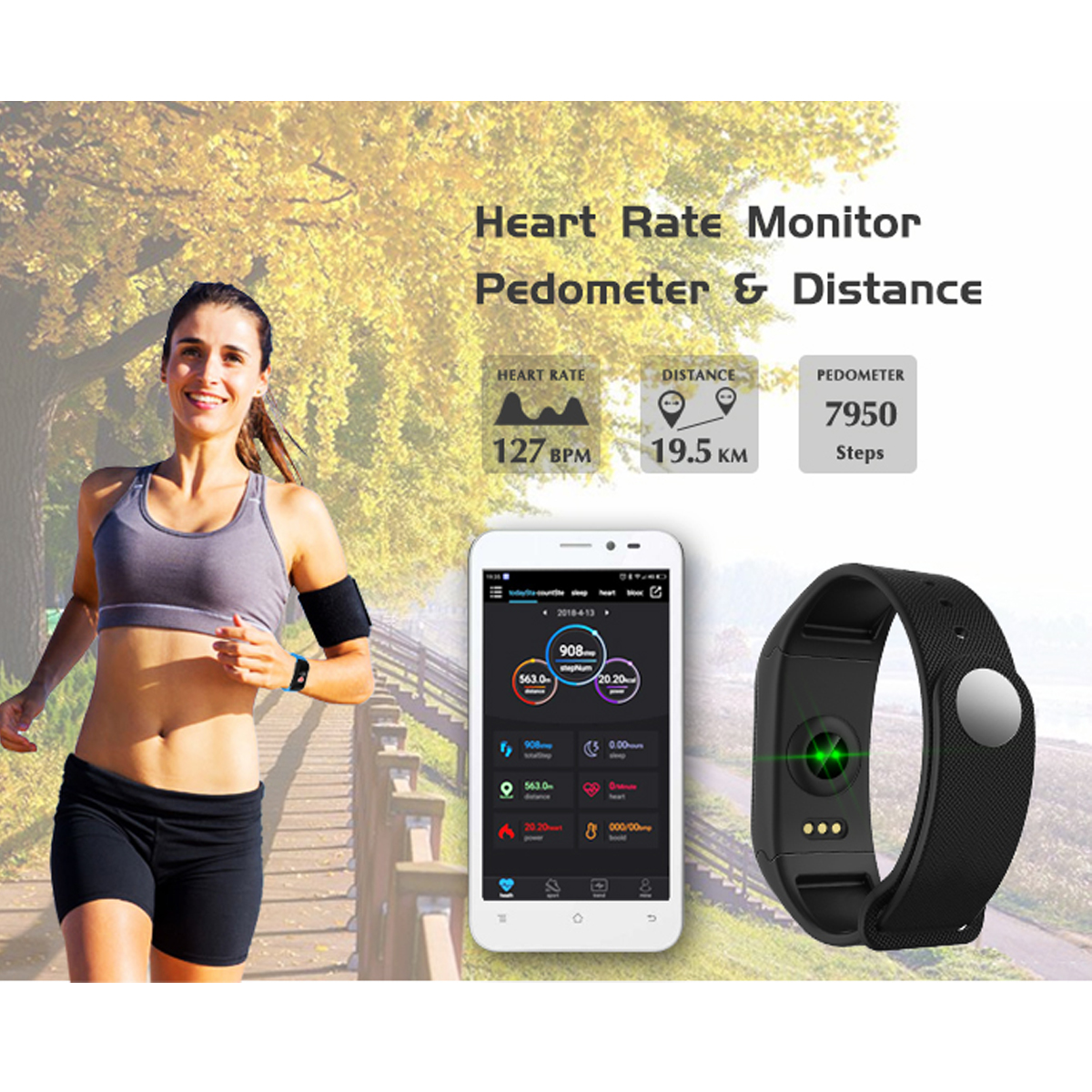 F1 Plus Heart Rate Blood Pressure Monitor Pedometer Smart Watch For iphone X 8/8Plus Samsung S8 S7