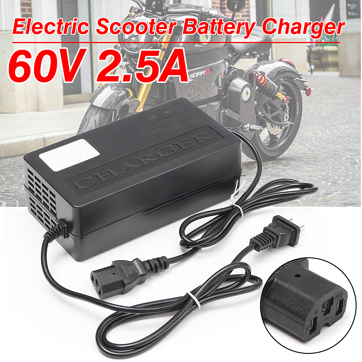 60V 2.5A Battery Charger Adapter For Electric Scooter E-bike Power PC Plug