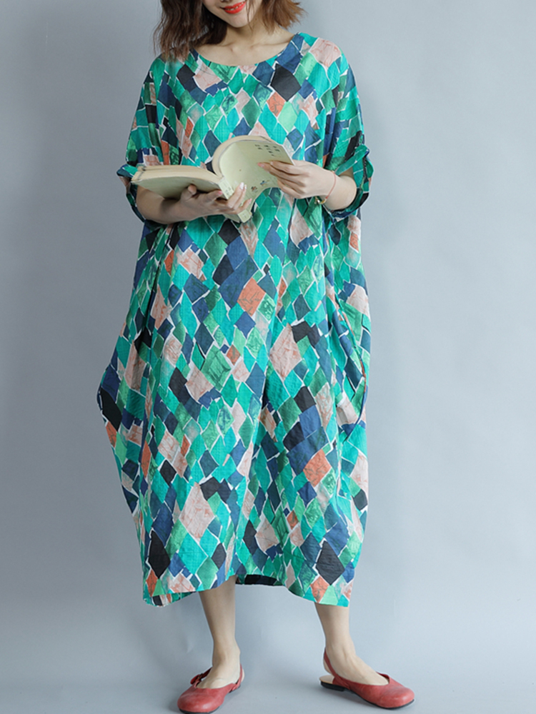 Plus Size Women O-neck Mosaic Casual Maxi Dress