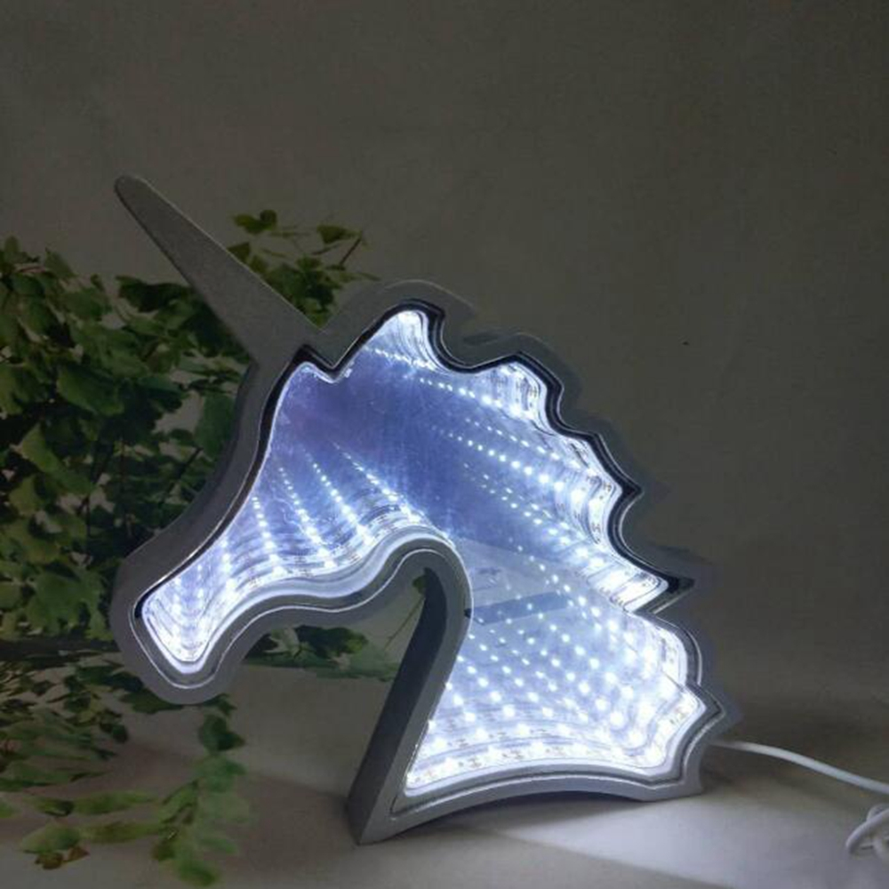 Creative Cute Unicorn Mirror Lamp LED Tunnel Night Light for Kid Atmosphere Light White/Warm White