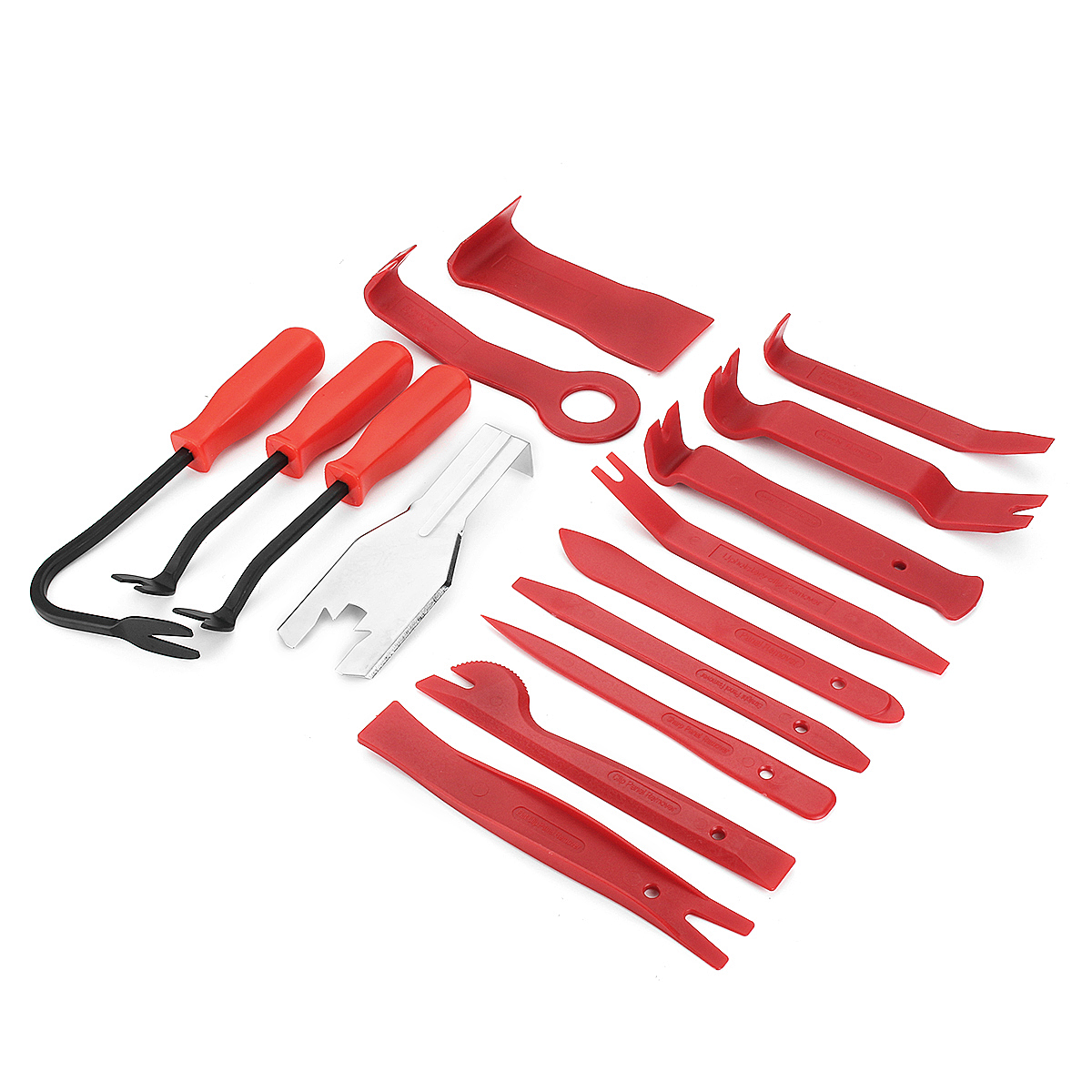 15pcs Meter Door Molding Remover Panel Trim Clip Removal Tools Kit Red Set