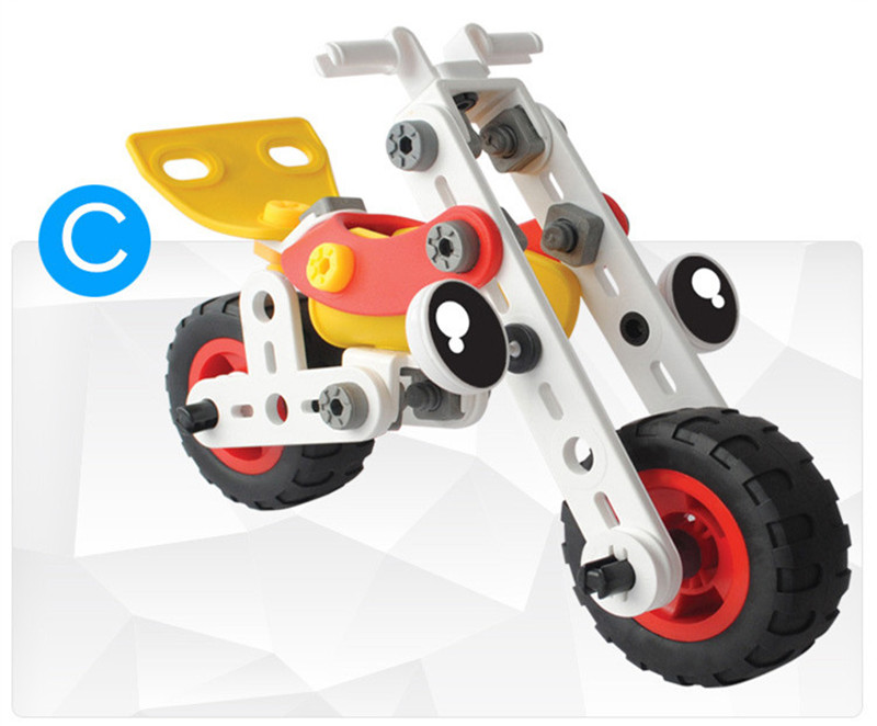 3 In 1 DIY Assembling Electric Self-Concept Car Aircraft Model Building Blocks Puzzle Kids Gift Toys