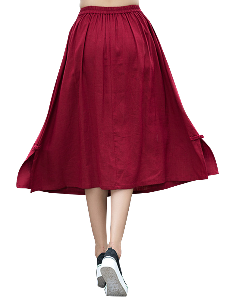 Casual Pure Color Elastic Waist Loose Hem Skirts