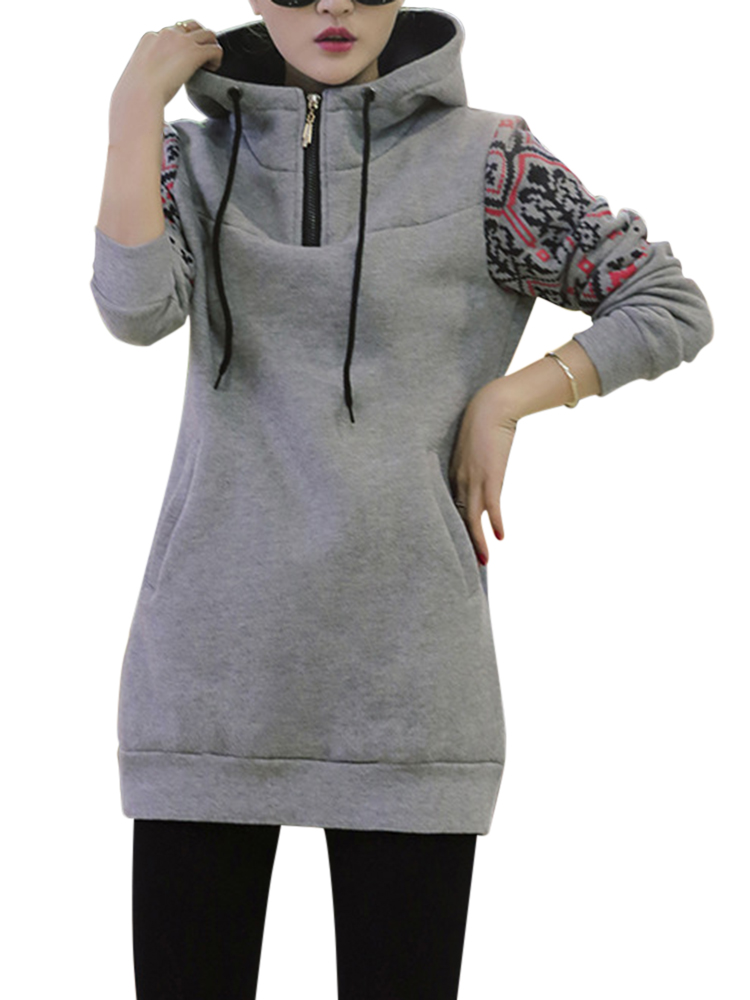 Vintage Casual Women Long Sleeve Hooded Outwear Suit Thick Hoodies