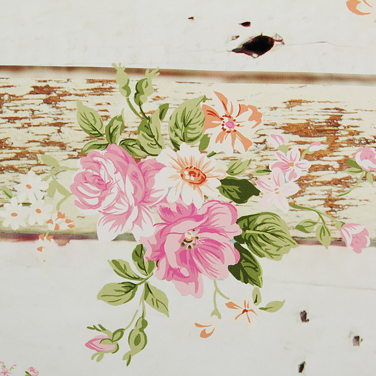 5x7FT Vintage Pink Flowers Wooden Floor Wall Photo Studio Background Backdrop Cloth