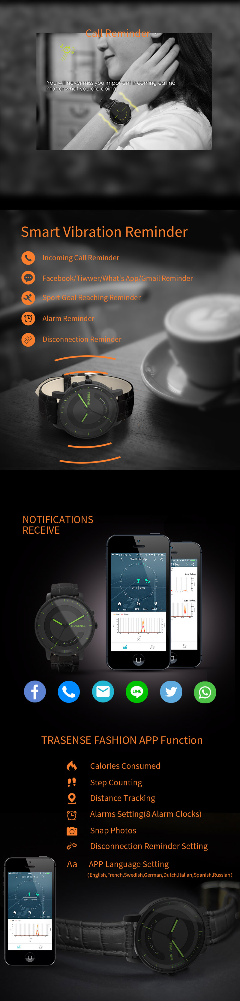 TRASENSE H03-N Smart Quartz Watch Leather Strap Call Reminde