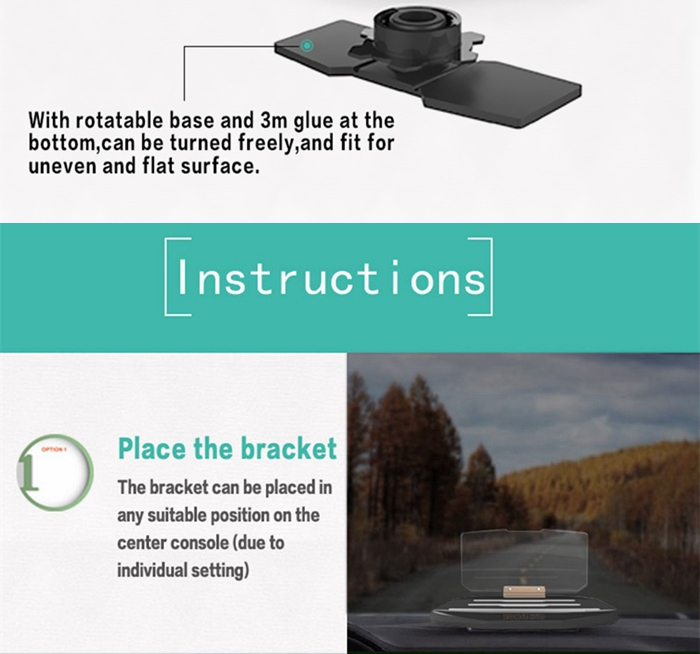 Car GPS Phone HUD Mobile Navigation Bracket Head Up Display HUD Projection Holder