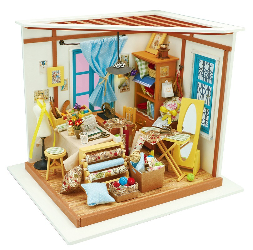Robotime Tailor's Shop DG101 DIY Dollhouse Kit Gift With Furnitures Miniature Doll House Set