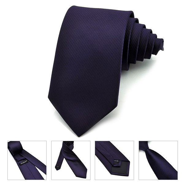 PenSee Mens Tie 100% Polyester Silk Solid Stripe Multi-Colors Formal Necktie