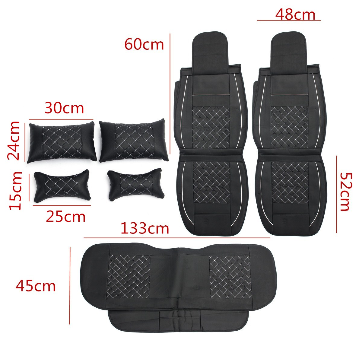 7PCS PU Leather Car Seat Cover Protector with Pillow Waist Cushion Set for 5 Seat Cars Universal