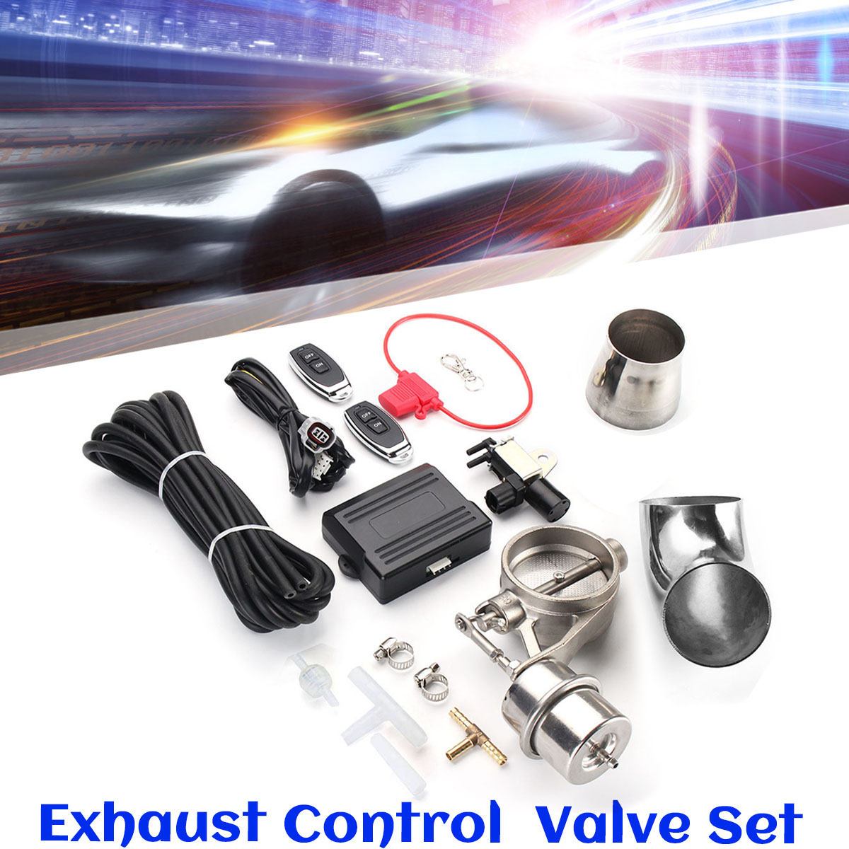 2.5 Inch 63mm Car Air Pipe Close Style Steel Exhaust Remote Control Valve Set With Vacuum Actuator