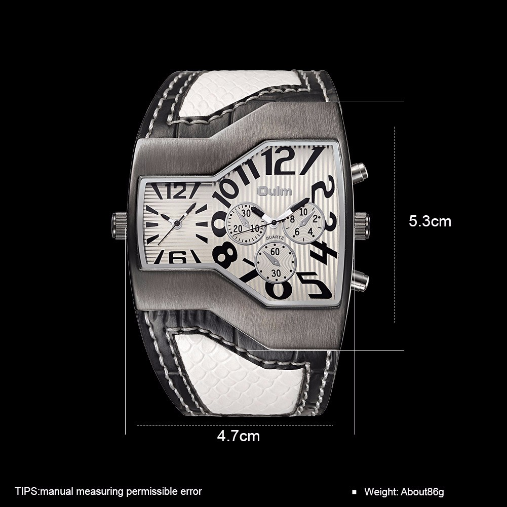 OULM 1220 Multi Time Zone Decoration Dials Leather Men Watch