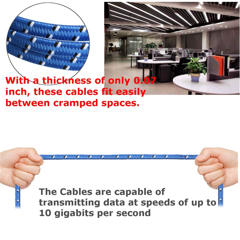 1~10M Durable Strong CAT-7 CAT7 RJ45 10Gbps Ethernet Flat Cable LAN Network Cord Networking Cable