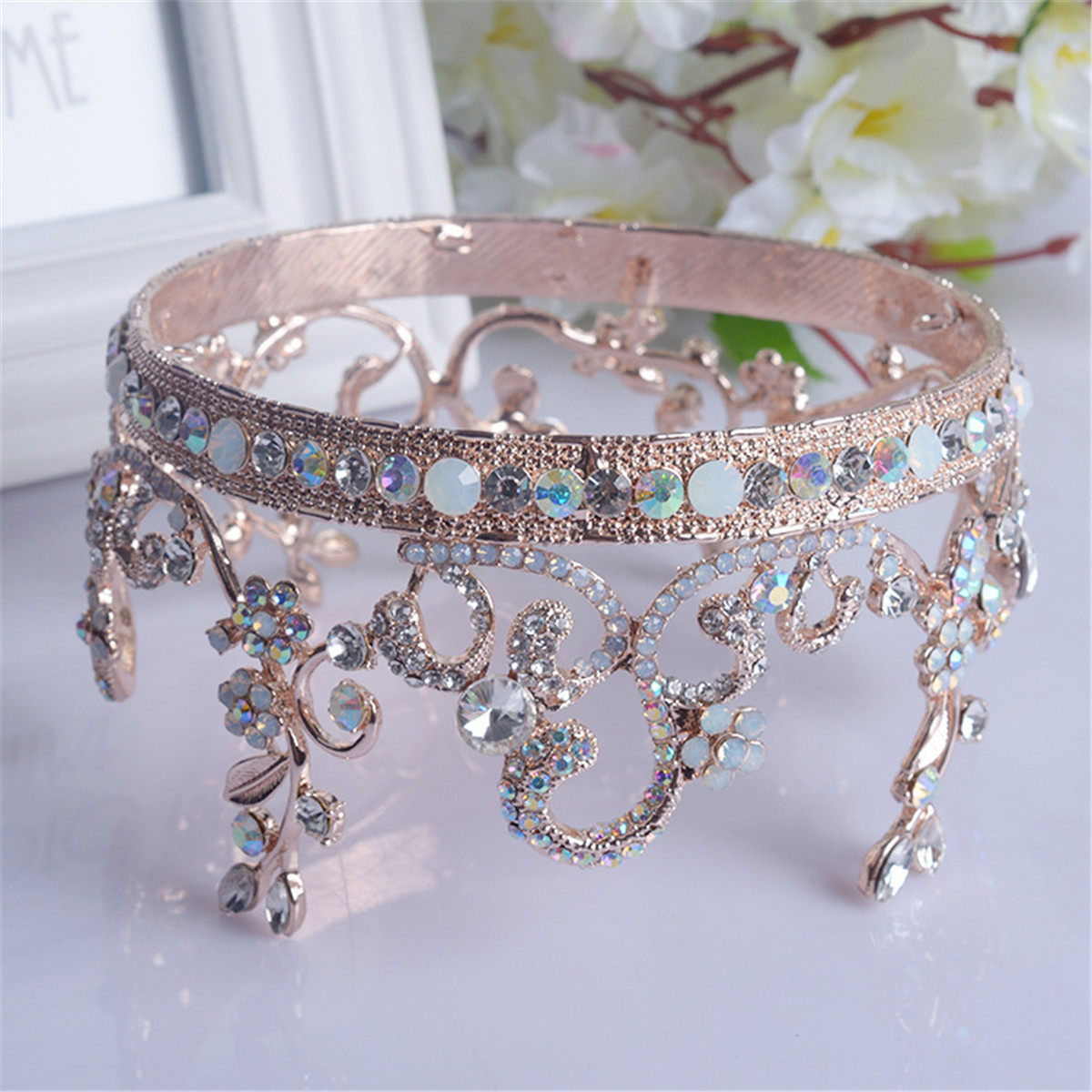 Bride Rose Gold Flower Leaf Crystal Diamond Wedding Bridal Crown Rhinestone Opal Pageant Tiara