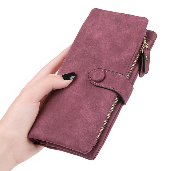 Retro Matte Buckle Ladies Wallet Bulk Card Holder Purse