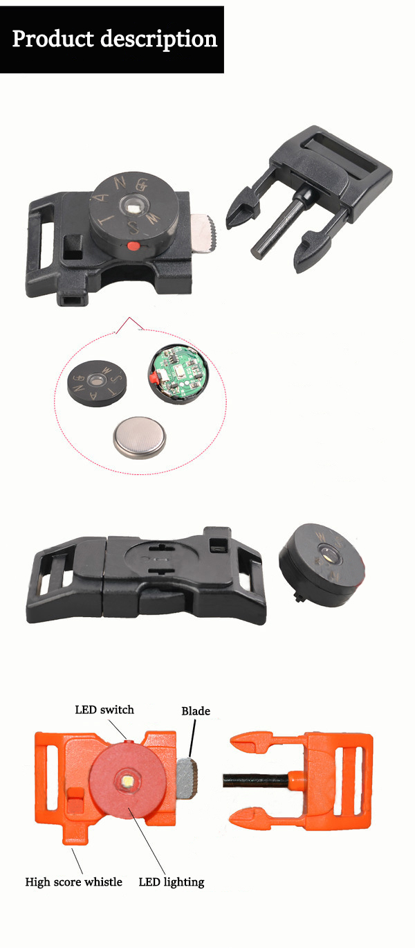 WSTANG LED Buckle Whistle Blade Plastic Outdooors Multi-function Lighting Accessories Luggage Bracelet