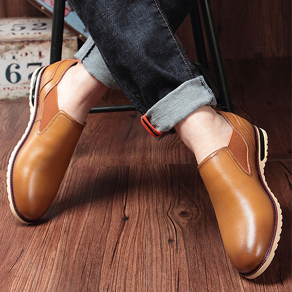 Men Leather Shoes Business Outdoor Slip On Oxfords