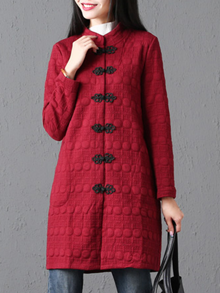 Vintage Frog Button Women Coat