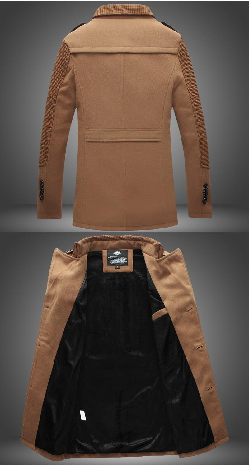 Fashion Slim Fit Thick Woolen Coat Mid Long Trench Coat