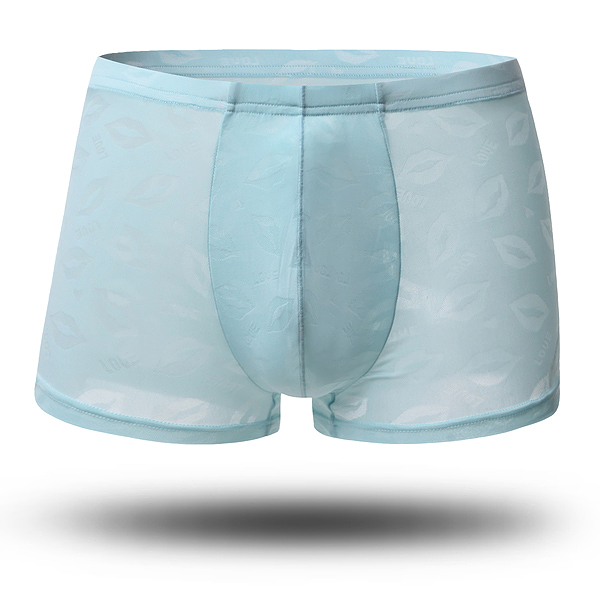 Mens Translucent Lips Jacquard Sexy Ice Silk Boxers Briefs